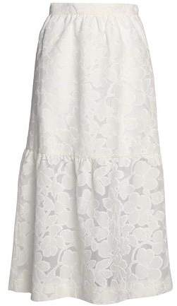 Mother of Pearl Gathered Fil Coupe Cotton-blend Midi Skirt