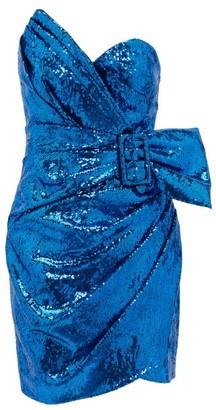 Dundas Sequinned Sweetheart-neck Belted Mini Dress - Blue