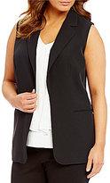 Calvin Klein Plus Notch Lapel Open Front Solid Vest