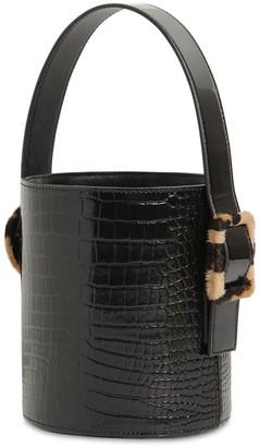 Les Petits Joueurs Olivia Croc Embossed Leather Bucket Bag