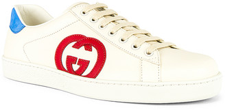 Gucci New Ace Low Top Sneaker in White & Red & Blue | FWRD