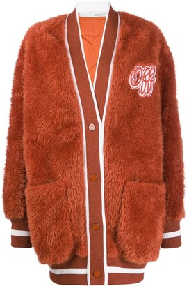 Off-White Embroidered Logo Furry Varsity Cardigan