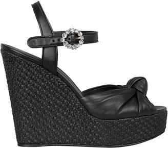 Dolce & Gabbana 90mm Raffia Wedge Sandals