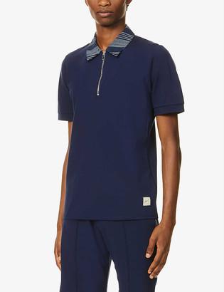 Prevu Contrast-collar stretch-jersey polo shirt