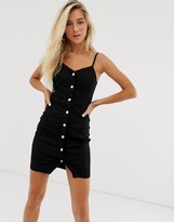 New Look button through dress in black