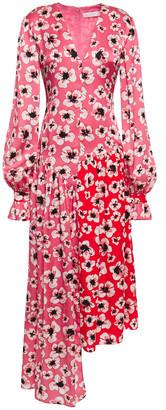 Borgo de Nor Asymmetric Floral-print Hammered Silk-satin Midi Dress