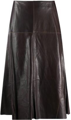 Arma High-Waisted Leather Midi Skirt