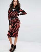 Versace High Waist Zebra Print Skirt