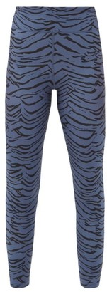 The Upside Tiger-print Jersey Training Leggings - Blue Print