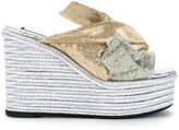 No.21 metallic wedge bow sandals - women - Cotton/Calf Leather/Goat Skin - 36