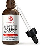 Fine Lines Foxbrim Organic Rosehip Seed Oil - Virgin Cold Pressed & Unrefined - Perfect for improving Hair, Skin, Nails & Fading Wrinkles, Stretch Marks & Scars - Rich in Omega Fatty Acids, Vitamins A & C - 2OZ