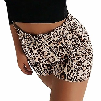 MOTOCO Women's Leopard Print High Waist Strap Casual Pants Shorts Size 12-20(M(14)