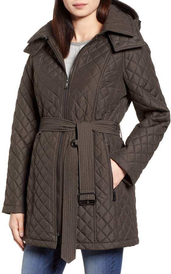 London Fog Diamond Quilted Hooded Jacket