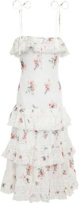 Zimmermann Tiered Floral-print Cotton-gauze Midi Dress