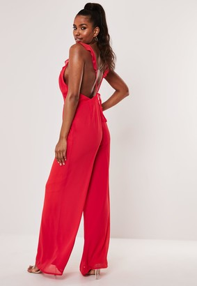 Missguided Red Ruffle Strap Wide Leg Jumpsuit
