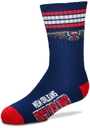 Youth For Bare Feet New Orleans Pelicans 4-Stripe Deuce Quarter-Length Socks