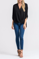 Lush Black Twist-Front Shirt