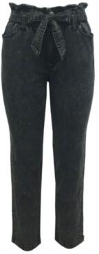 Tinseltown Juniors' Paperbag-Waist Jeans