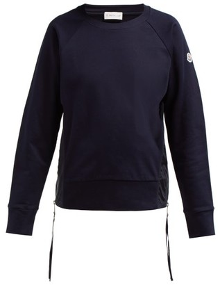Moncler Maglia Girocollo Zip-fastening Cotton Sweatshirt - Womens - Navy