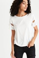 American Eagle Outfitters AE Tie-Sleeve Burnout T-Shirt