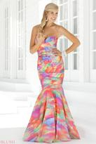 Blush Lingerie Strapless Multi Color Pleated Mermaid Gown 9316