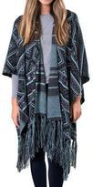 Muk Luks Women's Knit Fringe Ruana - Grey Tribal