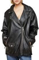 Miss Selfridge Oversize Washed-Out Biker Jacket