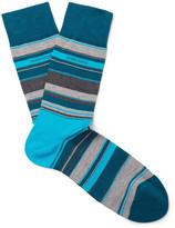 HUGO BOSS Striped Mercerised Cotton-blend Socks - Turquoise