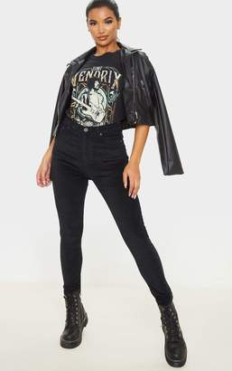 PrettyLittleThing Black Velvet Skinny Jeans