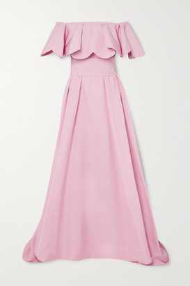 Valentino Off-the-shoulder Scalloped Twill Gown - Pink