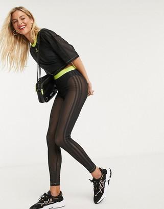 adidas x Fiorucci trefoil mesh leggings in black