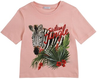 Dolce & Gabbana Jungle Print Cotton Jersey T-Shirt