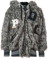 Dolce & Gabbana wolf hooded faux fur oversized jacket