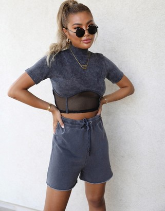 Public Desire x Carms high neck structured crop top in rib with mesh waist