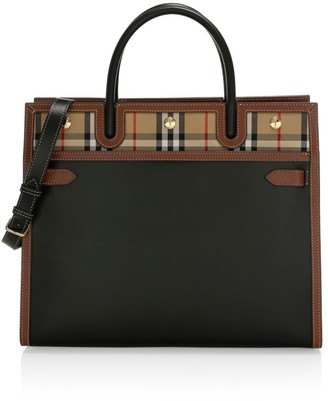 Burberry Large Title Vintage Check Leather Satchel
