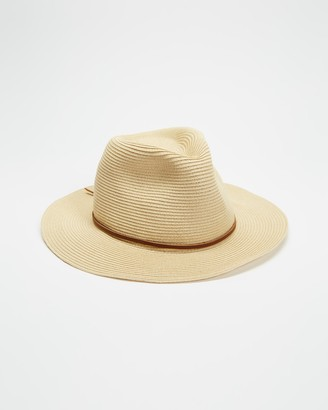 Brixton Brown Hats - Wesley Straw Packable Fedora - Size S at The Iconic