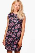 boohoo Harper Sleeveless Paisley Shift Dress