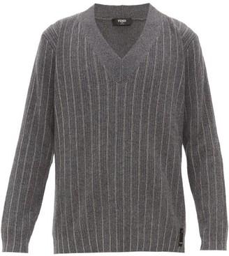 Fendi Chain-stripe V-neck Cashmere Sweater - Grey