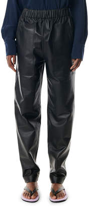 Tibi Faux Leather Relaxed Pull-On Pants