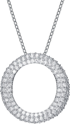 Genevive Silver Cz Circle Necklace
