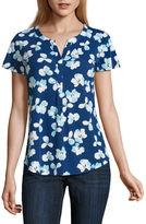Liz Claiborne Flutter-Sleeve Floral Knit Top - Tall