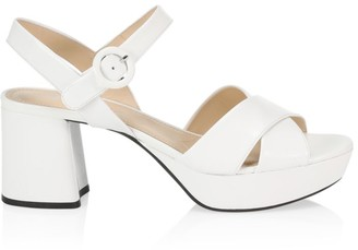 Prada Crisscross Leather Platform Sandals