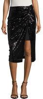 Badgley Mischka Mock-Wrap Sequined Skirt