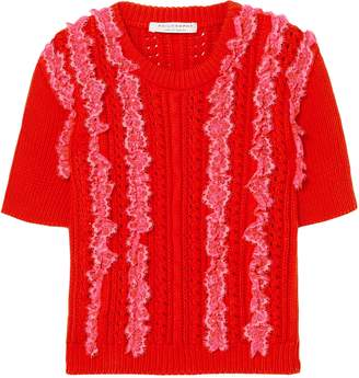 Philosophy di Lorenzo Serafini Lace-trimmed Pointelle-knit Cotton Top