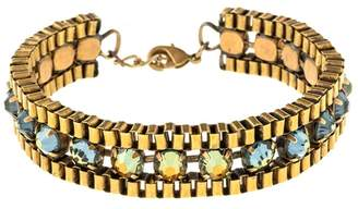 Halo & Co Irridescent Blue Crystal Box Chain Bracelet In Antique Gold Tone