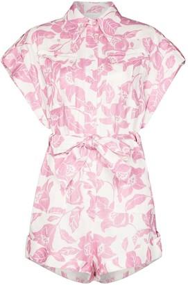 Zimmermann Floral Print Tie-Waist Playsuit