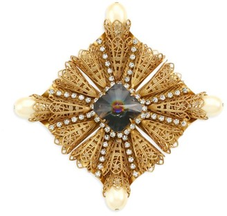 Kenneth Jay Lane Antique Goldplated, Crystal & Faux-Pearl Brooch
