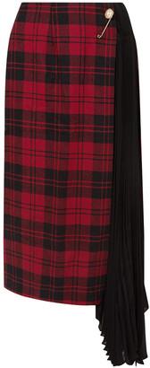 Mother of Pearl Marita Asymmetric Pleated Chiffon-paneled Checked Wool Midi Skirt