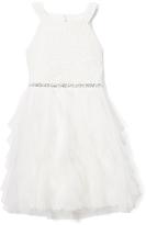 Speechless White Lace-Accent Ruffle Yoke Dress - Girls