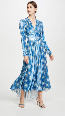 Paco Rabanne Blue V Neck Dress With Puff Sleeves